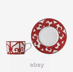 1 HERMES Balcon du Guadalquivir Red Large Breakfast CUPS Tea Coffee Cup & Saucer