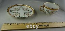 11 Guerin Limoges Floral Wreath & Heavy Gold Antique Porcelain Cup & Saucer Sets