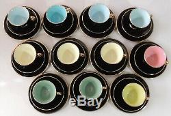 11 Stavangerflint Norway Multi Color Black Gold Trim Tea Cups Saucers Plates EUC