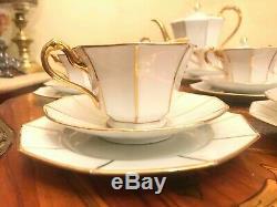 12 Cup Saucer Plates 1 Pot Milk Sugar Bavaria Tirschenreuth Porcelain Coffee Set