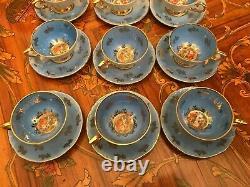 12 Cups 12 Saucers German Bavaria Porcelain Blue Handpaited Coffee Set