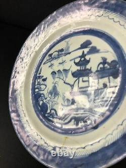 12 Pc Chinese Export Blue-and-White Canton Porcelain Plates 17851835