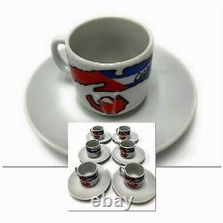 12 Pieces 2 oz Cuban Espresso Coffee Porcelain 6 Cups 6 Saucers Set