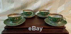 12 Tea Cups & Saucers Emerald Green Cabbage Pattern 19th Century Qing
