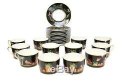 12 Tiffany Private Stock Le Tallec Porcelain Tea Cup & Saucers Black Shoulder