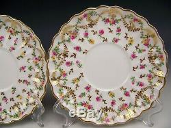 12pcs Copeland Spode F4630 Hpainted Rose Gold Swags Covered Cream Soups Saucers