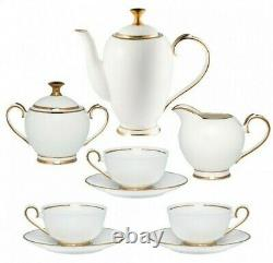 15-Pc Bone China Tea Set for 6 Persons White Porcelain Gold Plating Russia Gzhel