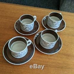 16pcs Upsala Ekeby Gefle Fontana Coffee Demitasse Cups & Saucers Berit Ternell