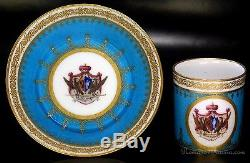 1793 Sevres Antique Armorial Porcelain Cup and Saucer Prince Baratyansky Service