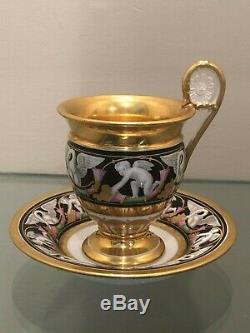 1798+ MARC SCHOELCHER Old Paris Porcelain CUP & SAUCER withSwans-Cornucopia-Putti