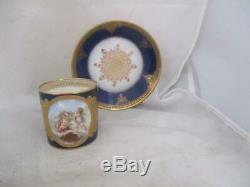 1846 Hand Painted Sevres Porcelain Cherub Cup & Saucer