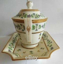 18th C Dihl Et Guerhard Paris Porcelain Mustard Pot In Cornflower Pattern