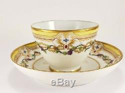 18th c French Antique Sevres Tea Bowl Cup Saucer Porcelain Yellow Gold Grapes