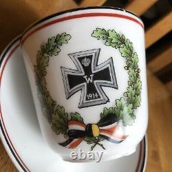 1914 WW1 German porcelain Tea Cup And Saucer World War iron cross Super Rare