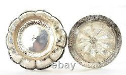 1930's Chinese Famille Rose Porcelain Tea Cup & Solid Silver Saucer Dish Lid