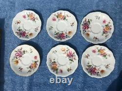 1940s boxed Royal Crown Derby porcelain 6 cups & saucers Derby Posies WWII mark