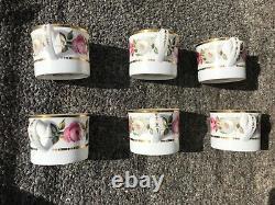 1969 Royal Worcester porcelain Royal Garden 6 large cups and saucers