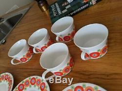 1970s Vintage Rainbow Retro Coffee Cups by Scherzer Bavaria 5 cups 6 saucers