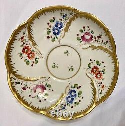 19th C SEVRES Porcelain Blue Butterfly Handle Teacup & Saucer Buff Gold Trimmed