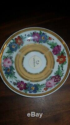 19th c. Antique French Empire Old Paris Porcelain Tea Cup & Saucer