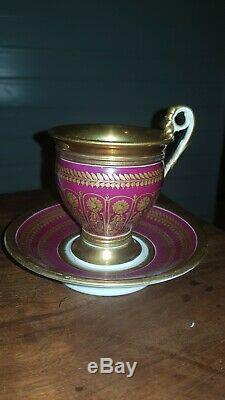 19th c. Antique French Empire Old Paris Porcelain Tea Cup and saucer