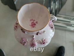 19thC Meissen Porcelain Applied Flowers Cup & Saucer Porcelian Staple Repair