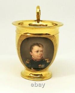 19thc. Old Paris Porcelain 22 K Gilt Cup Painted Portrait Napoleon French c. 1810