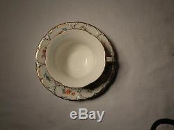 2 Pc Meissen Porcelain B Form HP Floral Cobalt Blue Gold Demi Cup & Saucer Nr
