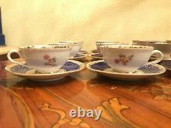 2 x 6 cups 6 Saucers KPE Germany Bavaria Rococo Porcelain Handpaited Coffee new