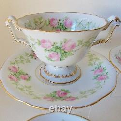(4) Antique French Limoges Porcelain Drop Rose Footed Bouillon Cups And Saucers