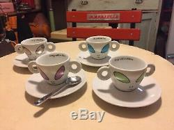 4 Espresso Cups Plus 4 Saucers + Spoon ALIEN by David Byrne 2001