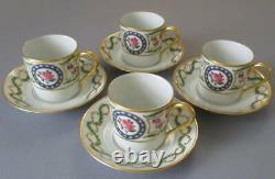 4 Fine HAVILAND Porcelain Demitasse Cups + Saucers Louveciennes ROSES Lush GILT