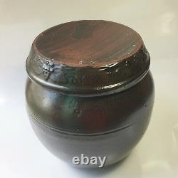 4 Liter Earthenware Container Onggi Pottery Pot for Kimchi, Food fermentation
