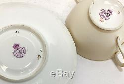 4 Royal Worcester Hand Painted Porcelain Blush Ivory Covered Cup & Saucers, 1891