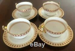 4 Vintage Richard Ginori Porcelain Cups & Saucers KHEDIVE PATTERN Italy DOCCIA