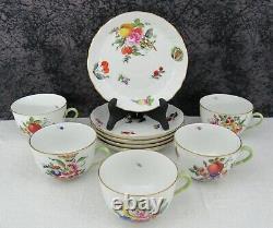 (5) Herend Fruits & Flowers #1725 Handpainted Porcelain Tea Cups & Saucers