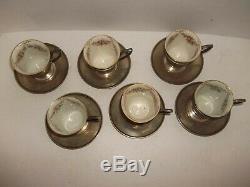 6 Antique Sterling Silver & Lenox Porcelain Demitasse Expresso Cup & Saucer Sets