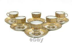 6 Coalport England Porcelain Cup and Saucers, circa 1890