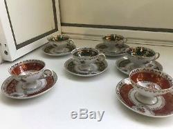 6 Cup 6 Saucer Set Rare Vintage Oscar Schlegelmilch Porcelain Coffee Mocca