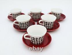 6 Cups & Saucers Red Top Marianne Westman Rörstrand / Rorstrand