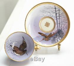 6 Dresden Ambrosius Lamm Hand Painted Porcelain Cup & Saucers, c1900. Birds