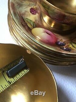 6 Gold Gilt Signed N. Brunt D Jones Fruit Painted Aynsley Tea Cup and Saucer Set