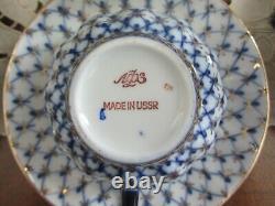 6 RUSSIAN IMPERIAL LOMONOSOV PORCELAIN COBALT BLUE NET CUP & SAUCER 24K pre1991
