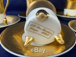 6 Sets Limoges L F Fine Porcelain PRC Gold Encrusted Demitasse Cups & Saucers