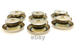 6 Sevres France Porcelain Cobalt Blue & Gilt Cup & Saucers, Armorial Crest