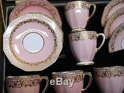 6 Spode Copeland England China Demitasse Cup & Saucer Sets Original Case Y5966