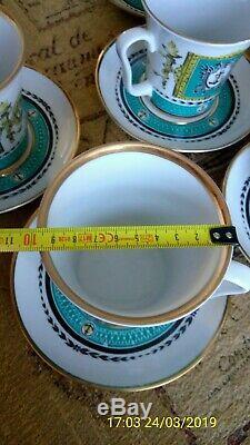 6 Vintage Lomonosov LFZ Soviet USSR Porcelain Mugs/ Cups & Saucers 350ml