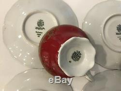 6 Vintage Weimar porcelain Katharina 28010 Tea/Coffee SetTea Cup & Saucer