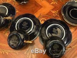 6 cups 6 saucer Set JLMenau Graf Von Henneberg Echt Cobalt Porcelain Coffee Set