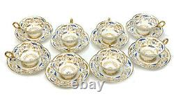 8 Copeland England Porcelain for Tiffany & Co. Cup and Saucers, circa 1895